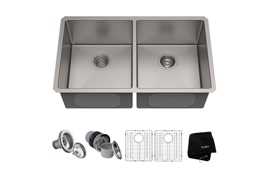 Kraus KHU102-33 Double Bowl kitchen sink