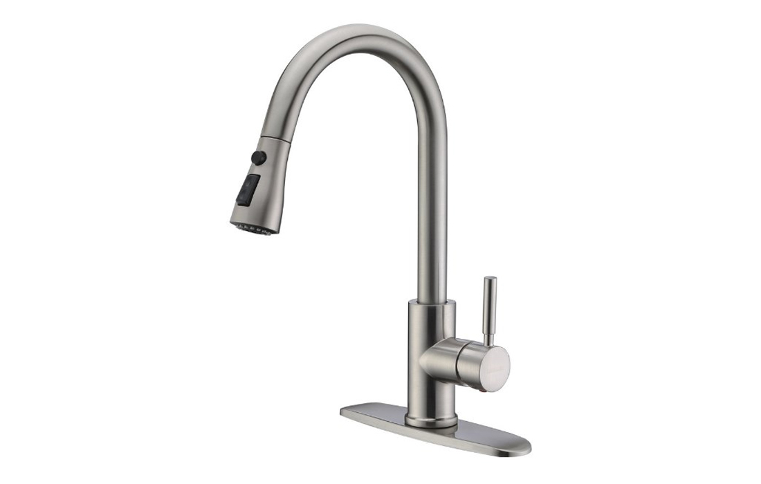 WEWE Single Handle High Arc Pull out Kitchen Faucet