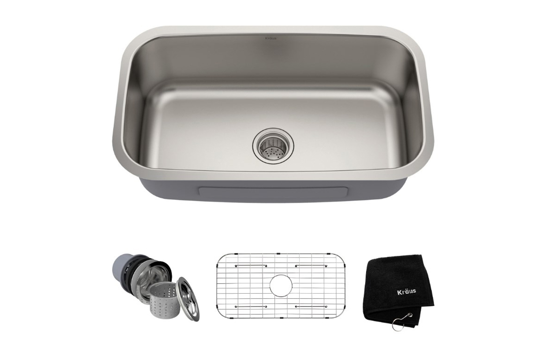 Kraus KBU14 Undermount Single Bowl Stainless Steel Kitchen Sink