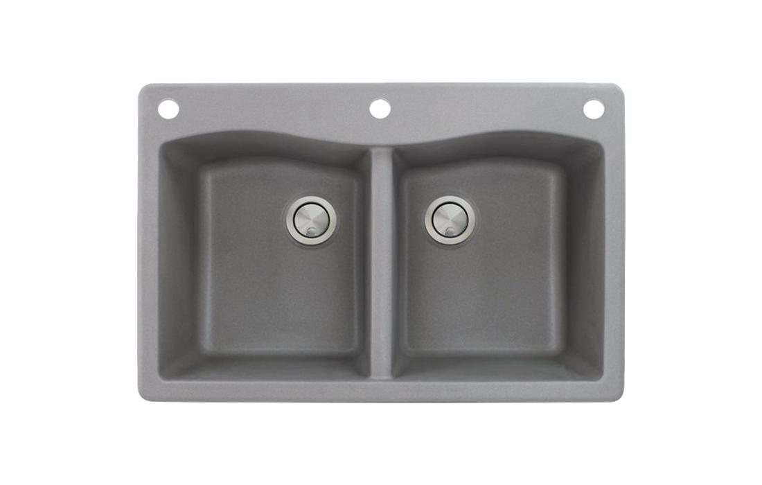 Transolid ATDE3322-17-CAE Aversa Granite 3-Hole Drop-in Kitchen Sink